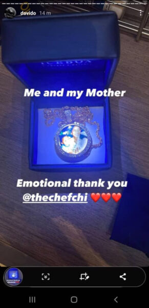 Chioma gift Davido a Neck Chain with an image of him and his mother