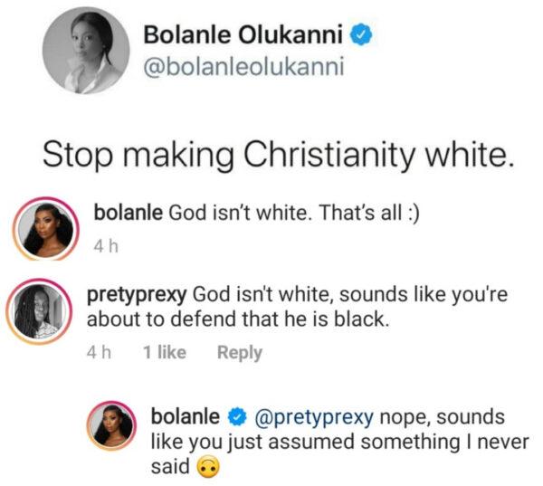 Media gal, Bolanle Olukanni says Stop making Christianity white.
