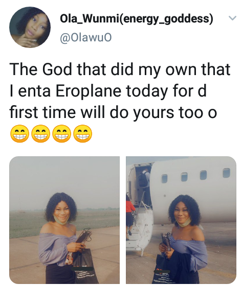 Nigerian lady celebrates as she enters airplane