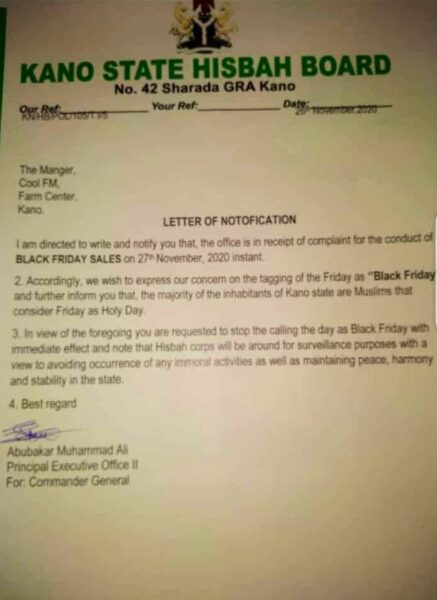 """Kano Hisbah Board under fire for wrong spelling - """"Letter of Notofication"""""""
