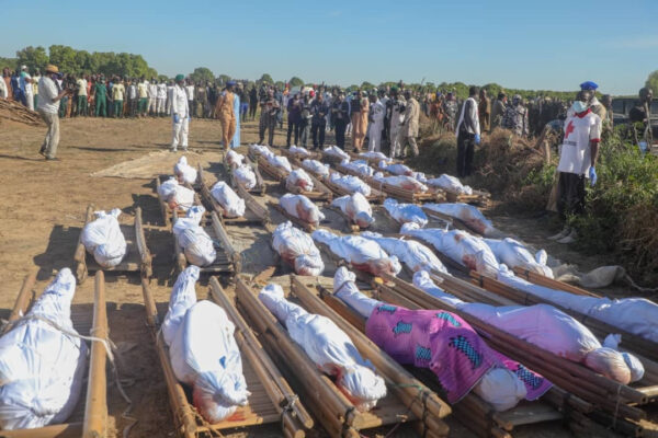 Photos from the funeral of 43 rice farmers slaughtered by Boko Haram terrorists in Borno