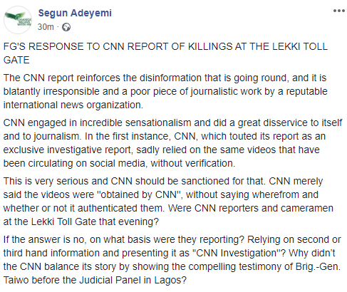 Read FG's official response to CNN's documentary on Lekki tollgate shootingg