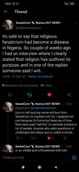 Embrace humanity first and not lies you're fed in the name of religion - Sweetcorn