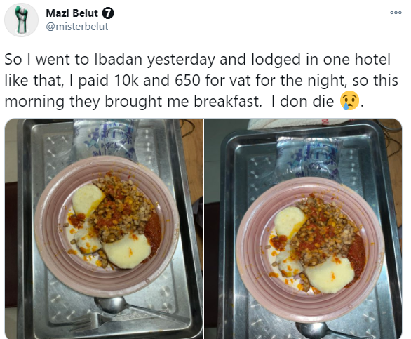 Nigerian man complains about the poor meal