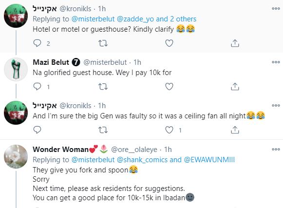 A guesthouse in Ibadan served me poor food