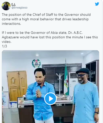 Nigerians react to viral video of Abia state governor's Chief of Staff