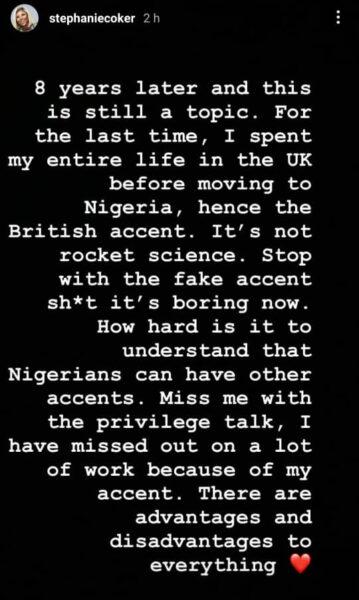 Stephanie Coker-Aderinokun replies Nigerians attacking her over her British accent
