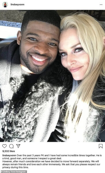 Lindsey Vonn and fiance P.K. Subban call off engagement