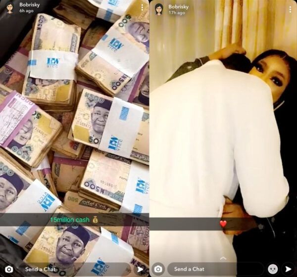 Bobrisky flaunts the 'N15 million' his bae gave to him after they spent a night together