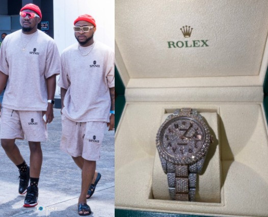 Davido gifts his cousin, Tunji Adeleke, a $40k Rolex (photos)