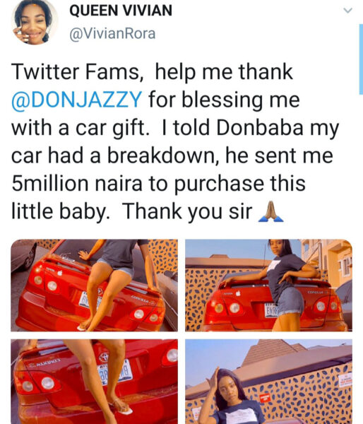 Don Jazzy reacts after clout chaser claimed on Twitter that he gifted her a car