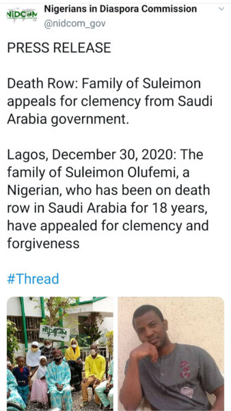 Family of Nigerian man sentenced to death in Saudi Arabia for murder of police officer appeals for clemency1