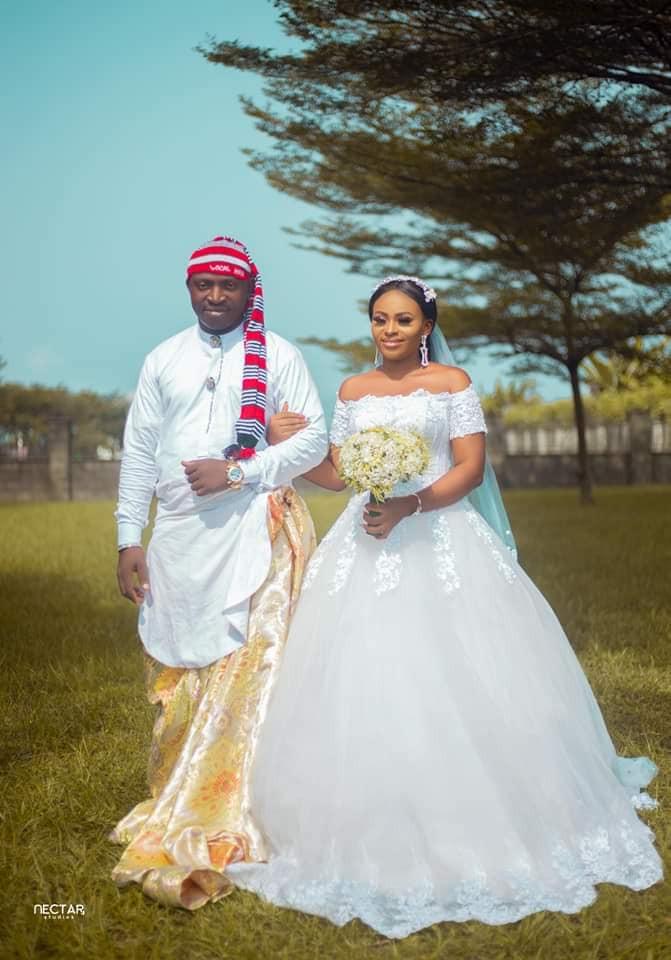 Groom wears traditional Efik attire for his church wedding in Akwa Ibom