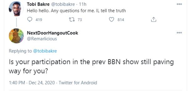 Reality Star Tobi Bakre lament over BBN no longer paving way. 1