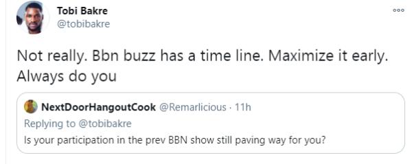 Reality Star Tobi Bakre lament over BBN no longer paving way.11