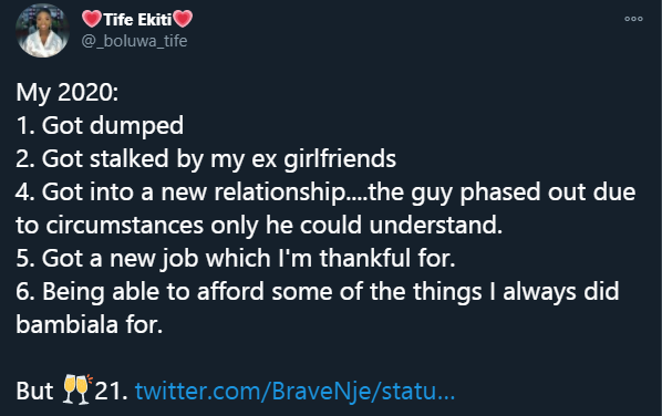 Screenshot South African lady highlights her life in 2020