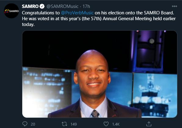 Proverb voted into the SAMRO board
