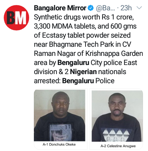 Two Nigerian men arrested in India with drugs worth over N51m1