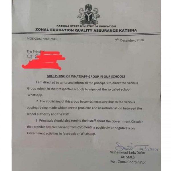 Katsina State teachers allegedly banned from Social Media