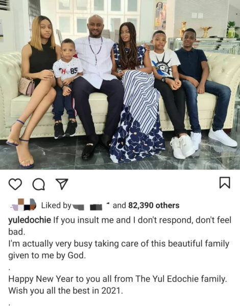 Yul Edochie shows off his family