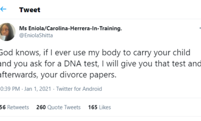 I'll divorce my husband if he asks for DNA test after giving birth - Nigerian lady says