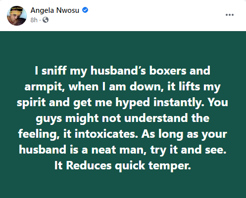 Angela Nwosu - I sniff my husband armpit and boxers when down