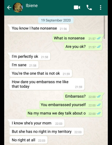 Girlfriend expresses her anger after her boyfriends mother comes to his house