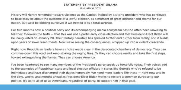 Read the former president's full remarks below.