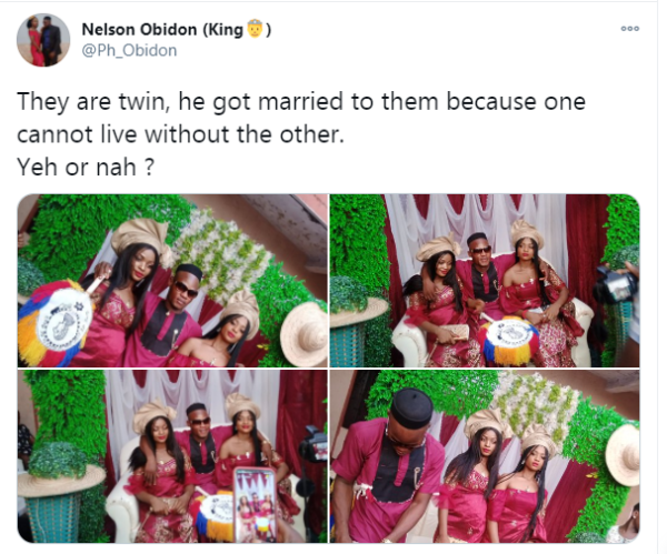 Nigerian man traditionally married twin sisters.