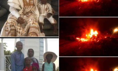 Nigerian man wife and four children burnt to death in a fatal accident photos