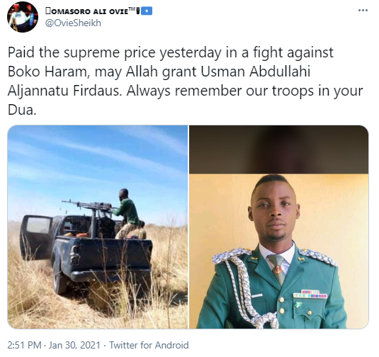 Nigerian soldier allegedly dies during fight with Boko Haram2