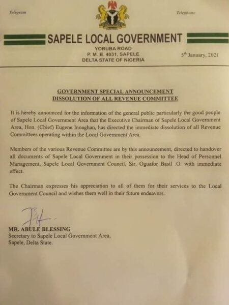 Sapele Local Government Dissolves all Revenue Committees