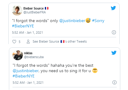 Tweets: Justin Bieber Forgets Lyrics To 'Sorry' During NYE Concert