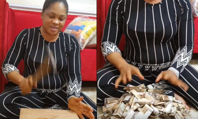 Actress Regina Chukwu shows off money in her piggy bank after a year