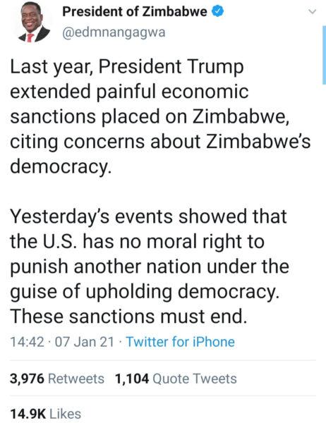 Zimbabwe President Emmerson Dambudzo Mnangagwa reacts to violence in US1