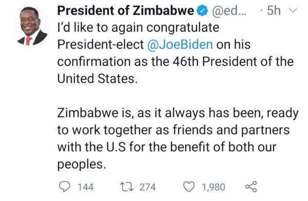 Zimbabwe President Emmerson Dambudzo Mnangagwa reacts to violence in US2