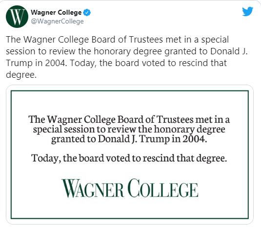 honorary degree awarded to President Trump