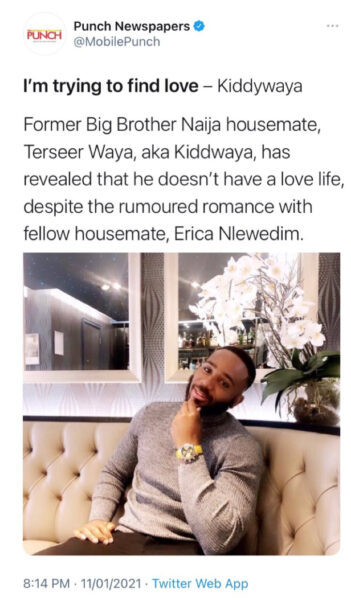 Kiddwaya confirms split from Erica1