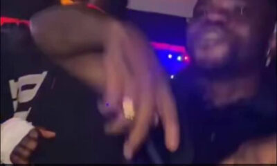 Burna boy celebrates his Grammy win at a club with his friends video
