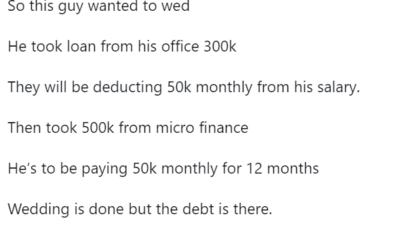 Nigerian man on 120k salary runs into serious debt after borrowing N800k to throw talk of the neighborhood wedding