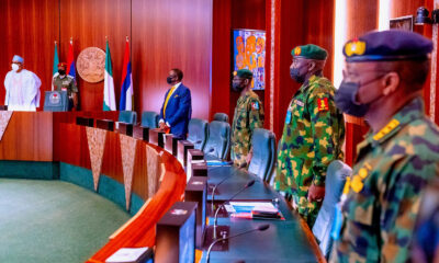 President Buhari meets military service chiefs before his medical trip to London photos