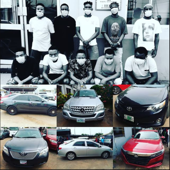 Ten suspected internet fraudsters arrested with eight cars in Akure photos