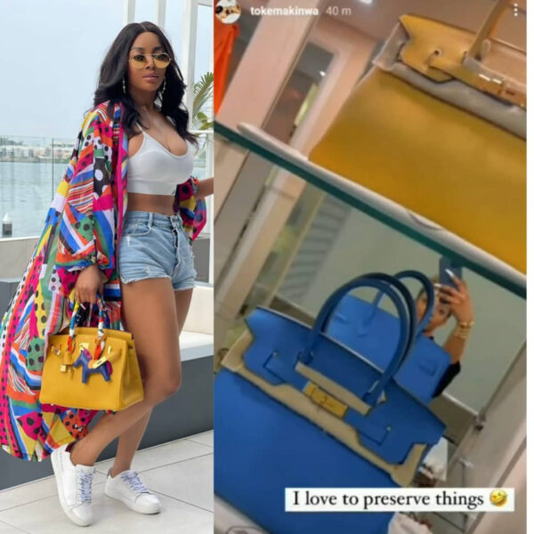 Toke Makinwa shows off her Hermes bags collection video