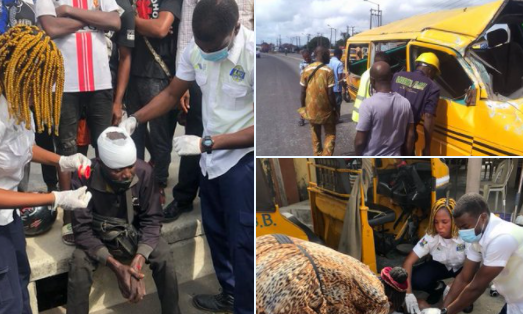 Man dies others injured as commercial bus tumbles after one of its tyres burst while driving on top speed in Lagos photos