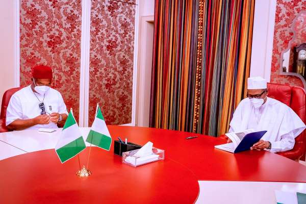 Uzodimma meets Buhari says 50 suspects arrested over Imo attacks