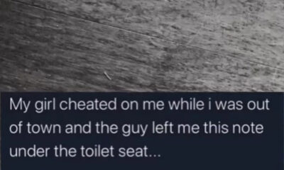 Man in shock after his girlfriends other man leaves a note under his toilet seat revealing she cheated on him while he was out of town