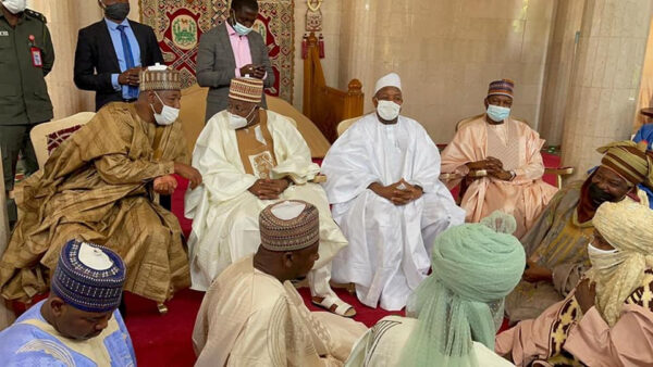 Governors Ministers top APC officials arrive Emir of Kanos palace to formalise plans for Yusuf Buharis wedding