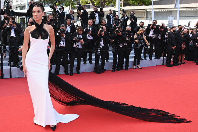 Bella Hadid takes the scarf top trend to the Cannes Film Festival red carpet