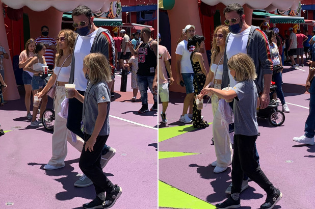 Ben Affleck and Jennifer Lopez snapped with kids at Universals 'Simpsons park