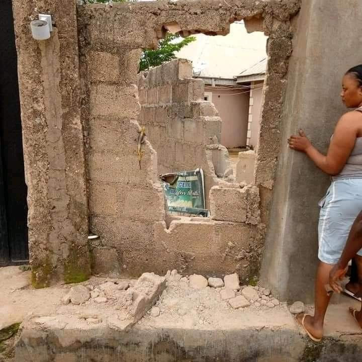 Photos show walls bandits broke to abduct residents in Kaduna community